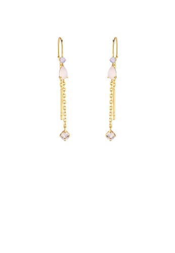 Glamorousky silver 925 Sterling Silver Plated Gold Simple Temperament Geometric Tassel Earrings with Cubic Zirconia AFA50AC8B6DD4CGS_1