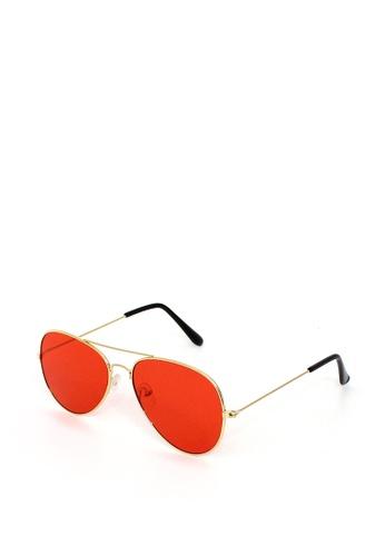 Peculiar and Odd red Aviator Sunglass Flash Lens Straight Unisex 4DB27GLF670C34GS_1