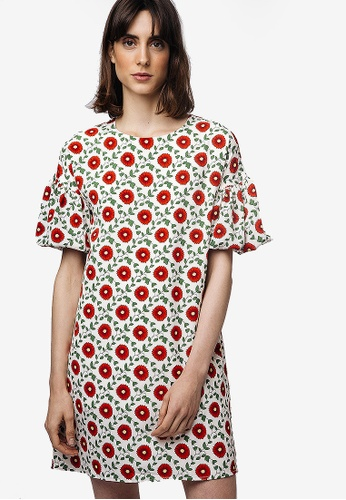 b9ae316ab0 Compania Fantastica multi Red Flower Dress 08BA2AAEC80EA1GS 1