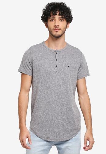 Hollister grey Solid Henley T-Shirt 29131AA931E2A1GS_1