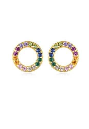 SUNRAIS gold High quality Silver S925 gold simple design earrings F9E11AC43C6074GS_1