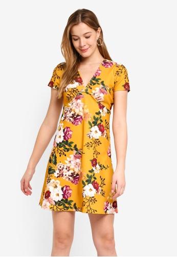 10421069dacc Dorothy Perkins orange Yellow Floral V Neck Dress 150BFAA5A03CF2GS 1