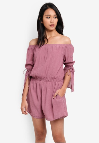 Something Borrowed pink Split Sleeve Off Shoulder Romper BAC7BAAE492707GS_1