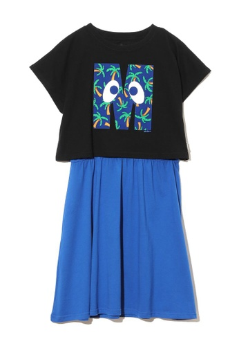 Mini cream black Initial print tee and shift dress separates F035CAA0C1B5ABGS_1