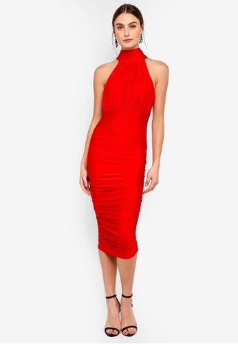 AX Paris red Halter Neck Slinky Dress 39C14AA0CC8B82GS_1