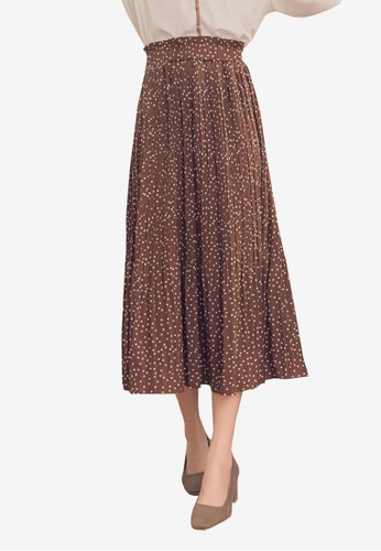 Yoco multi and brown Chiffon Polka Dot Pleated Skirt 9186CAA6691177GS_1