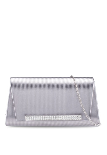 Unisa grey Debossed Clutch With Glittering Stones Embellishment 8099DACADBD28AGS_1