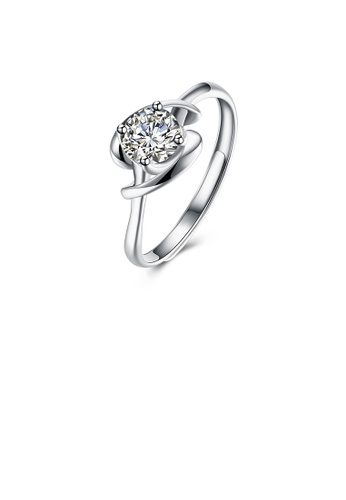 Glamorousky white 925 Sterling Silver Simple Fashion Round Cubic Zircon Adjustable Ring 146AAAC4047C5BGS_1