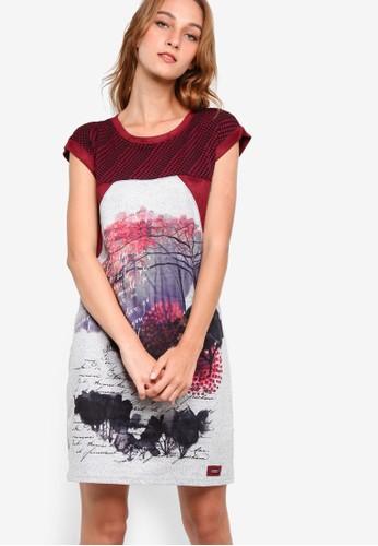 Huesprit 澳門guet 圖樣印花拼接短袖連身裙, 服飾, 洋裝