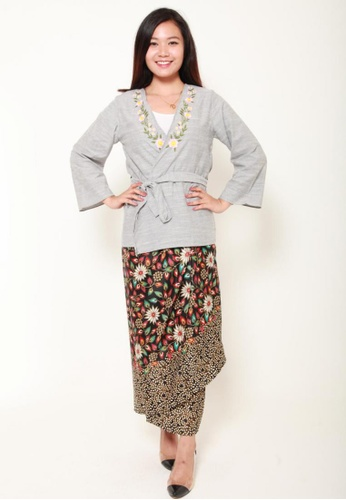 Naphthys Collection black and white and pink and blue and multi Batik Skirt/Sarong 6764FAAA487B14GS_1