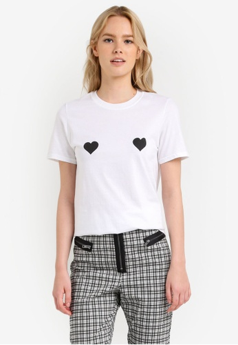 TOPSHOP white Heart Placement Tee TO412AA0RJN6MY_1