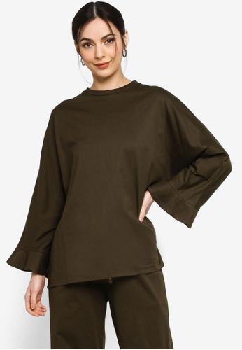 Earth by Zalia Basics green Organic Cotton Kimono Shape Sleeve Top FC1B1AA81813A4GS_1
