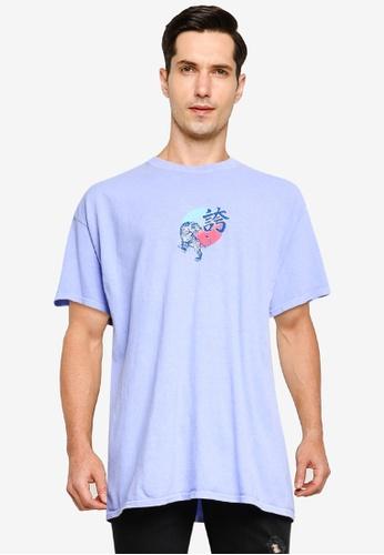 Topman purple Lilac Tiger Print Oversized T-Shirt 118B9AA916D182GS_1