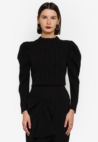 Zalia 黑色 Mutton Sleeve Top 40787AAB05F345GS_1
