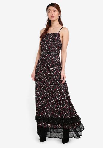Something Borrowed black Ruffle Hem Cut-in Maxi Dress 03B55AAE5E77A8GS_1
