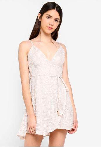 INDIKAH beige Textured Wrap Dress F86B1AABD87408GS_1