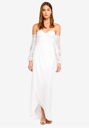 f567f5efa7e2 Elle Zeitoune white Off Shoulder Maxi Dress With Sheer Lace Sleeves  D90FCAA99503A8GS 1