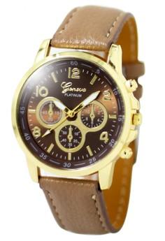 Geneva Sophie Neutral Sand Leather Strap Watch