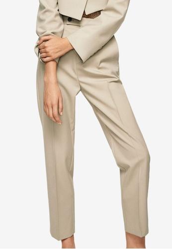 Mango brown Wool Straight-Fit Trousers 001CBAAE07B88BGS_1