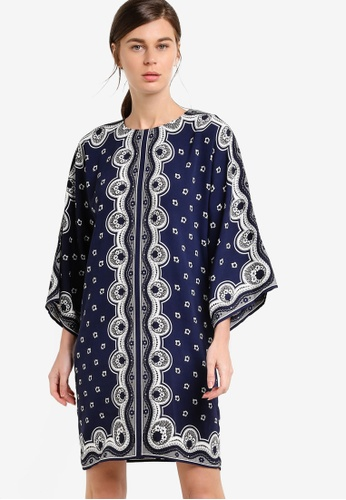WAREHOUSE navy Bandana Print Tunic Dress WA653AA64ULJMY_1