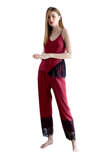 LYCKA red LCB2158-Lady Casual Pajamas Two Pieces Set-Red 062DEUSB4A469FGS_1