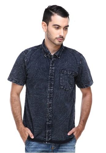 Hamlin black Hamlin Dwan Shirts Kemeja Jeans Sandwash Kasual Model Slim Fit Material Denim ORIGINAL 7E699AAA290DD9GS_1