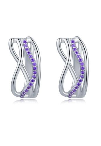 MBLife silver 925 Sterling Silver Purple CZ Hoop Earrings 96942AC7336B7CGS_1