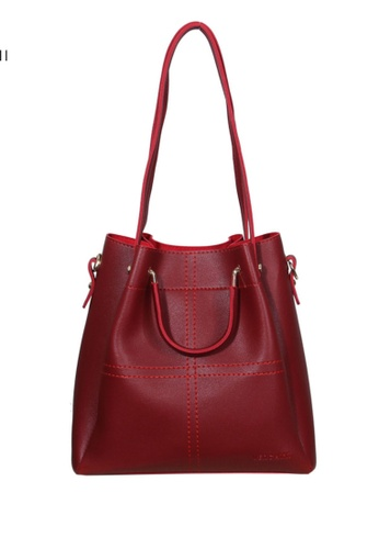 Verchini red Verchini Textured Panelled Top Handle Bag F1EF8AC1E50942GS_1