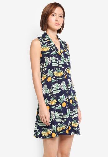 ZALORA blue Sleeveless Mini Shirt Dress With Contrast Piping 331BEAA3154874GS_1