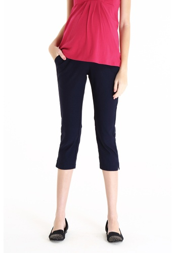 Bove by Spring Maternity navy woven Slim Skinny Super Stretch Crops IB3202 SP010AA13IVESG_1