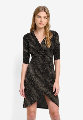 Dorothy Perkins black and gold Petite Gold Sparkle Wrap Dress DO816AA0S2JIMY_1
