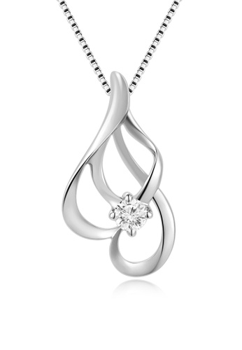 MaBelle silver 18K/750 White Gold Diamond Pendant With Free Silver Necklace 6BAF6ACE61A677GS_1
