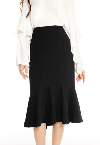 Pomelo black Solaris Flounce Skirt - Black B9A8DAA057CF0EGS_1