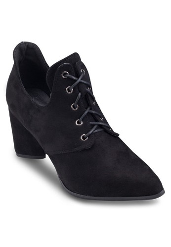 繫帶麂皮粗跟踝esprit 工作靴, 鞋