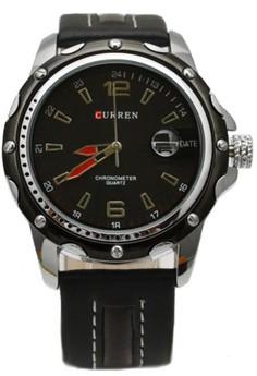 Curren Men's Black Leather Strap Watch 8104