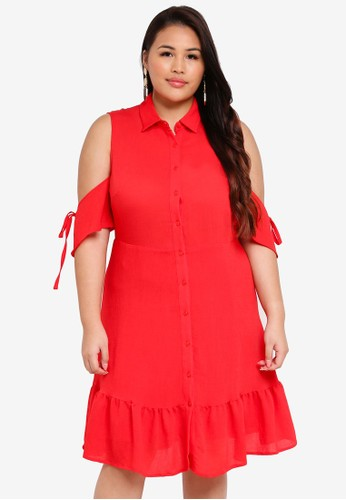 LOST INK PLUS red Plus Size Fit & Flare Shirt Dress With Frill Hem 89FA8AAE5FF0C5GS_1