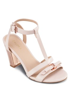 Block Heeled Sandals With Bow Details