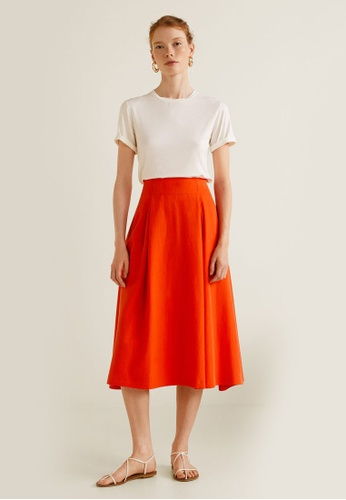 Mango orange Pleated Midi Skirt 38813AAE256D08GS_1