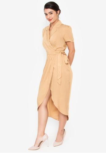 Wear Kris beige Kennedy Overlap Woven Dress 3E5FEAA0628324GS_1