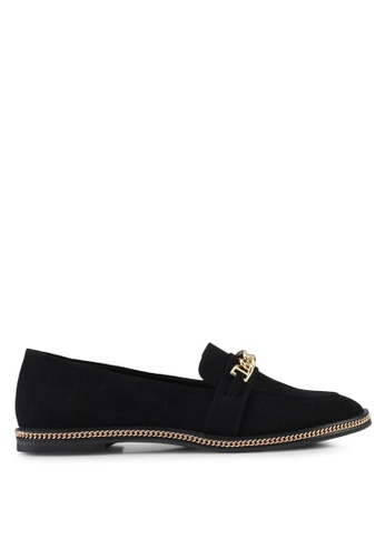 Something Borrowed black Loafers With Chain Details 8DFF4SH6C72D62GS_1