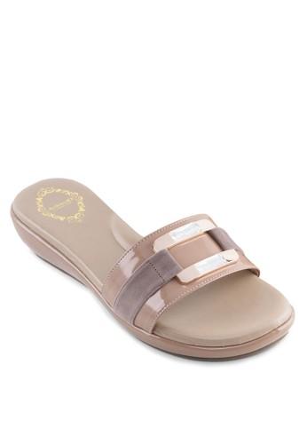 閃鑽一字esprit台北門市帶厚底涼鞋, 女鞋, 涼鞋