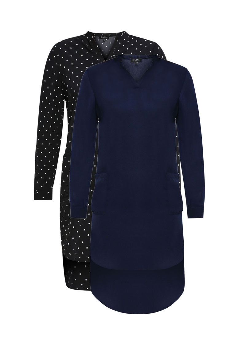 Pack Shirt 2 Polka BASICS Dot ZALORA Dress Navy With Black Pocket HdqfwZq