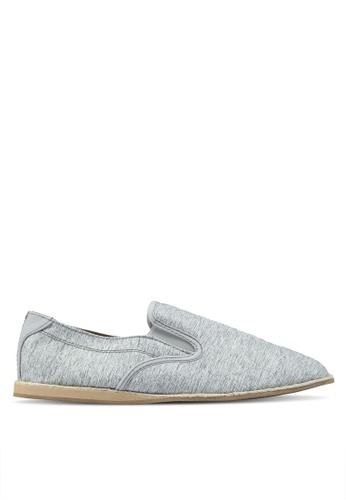 Topman grey Grey Canvas Dax Slip Ons 37B22SH475D2E1GS_1