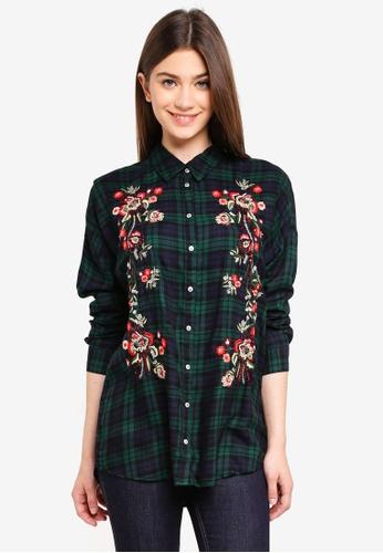 ONLY green Lika Loose Long Sleeve Check Emb Shirt BB954AAC61B60BGS_1
