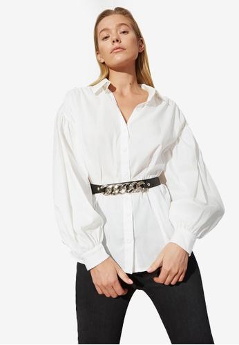 Trendyol white Balloon Sleeve Belted Shirt 9E359AA67E636EGS_1
