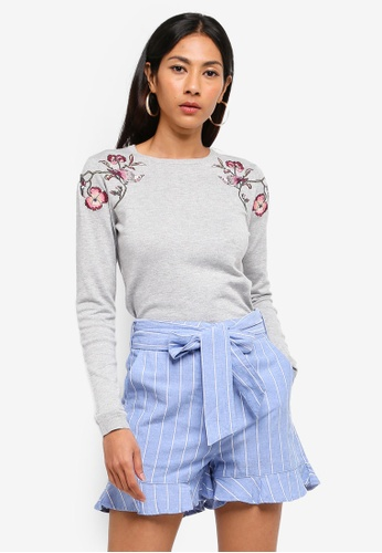 WAREHOUSE grey Estella Embroidered Jumper AFE92AAAF1255CGS_1