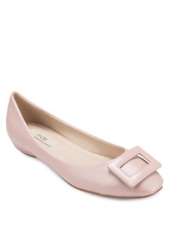 Clare 方形扣環仿皮esprit服飾平底鞋, 女鞋, 芭蕾平底鞋