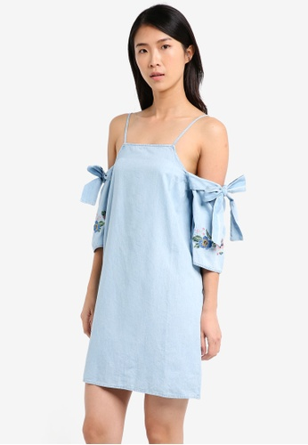 TOPSHOP blue Moto Embroidered Sleeve Dress TO412AA0SZ6CMY_1