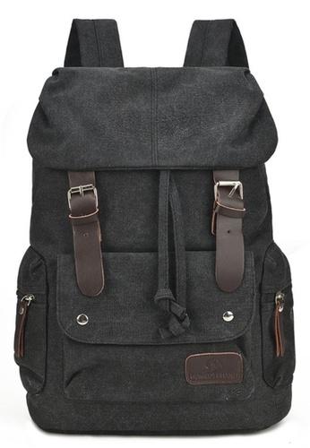 Jackbox black Korean Fashion Large Capacity Zipless Tie Canvas Ipad Laptop Bag Backpack 530 (Black) 5F5A0AC225FA31GS_1