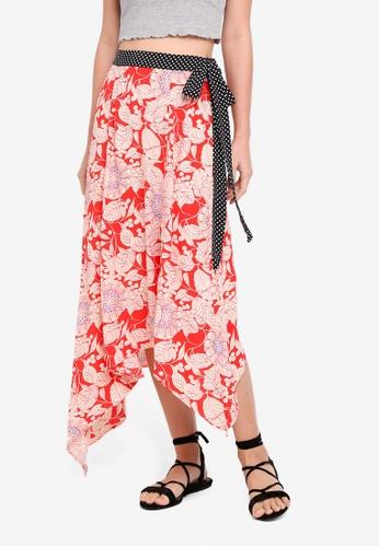 TOPSHOP red Floral Spot Trim Midi Skirt AF840AA4CA28ADGS_1